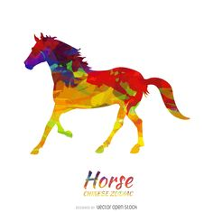 Colorful chinese zodiac design featuring a horse drawing in multiple colors and paint trails. White background. It also says horse and chinese zodiac on