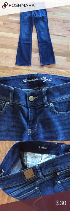 Slim Boot cut American Eagle jeans I love the color of these jeans it's a nice dark denim and then it has a really nice wash. They are stretch Slim boot cut in size 6 & like a new American Eagle Outfitters Jeans Boot Cut