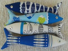 Handmade traditional Portuguese sardines in fun by OlaFishyWishy Handmade Decorative Items, Sewing Crafts, Sewing Projects, Fabric Fish, Lavender Bags, Baby Presents, Fish Crafts, Denim Crafts, Contemporary Fabric