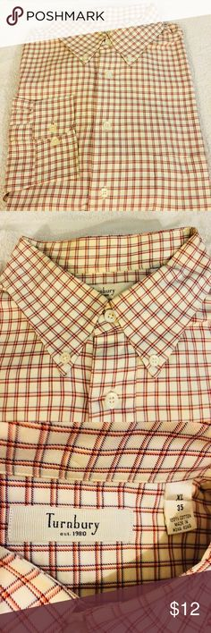 Turnbury White, Burgundy & Orange Plaid Shirt XL Turnbury White with Burgundy, Orange and Blue Plaid Shirt size XL! Great condition!  Please make reasonable offers and bundle! Ask questions :) Turnbury Shirts Casual Button Down Shirts