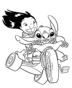 lilo and stitch on bike coloring pages for kids printable free