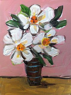 Magnolias in Vase Painting by DevinePaintings on Etsy, abstract, still life, floral, magnolia, coral, pink, lime, orange, whimsical, devine, dallas