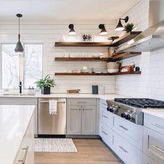 10 Noble Clever Tips: Open Kitchen Remodel Ideas kitchen remodel flooring stove.Kitchen Remodel Before And After Diy. Floating Shelves Kitchen, Kitchen Shelves, Kitchen Decor, Open Shelves, Glass Shelves, Diy Kitchen, Kitchens With Open Shelving, Corner Shelving, Kitchen Backsplash