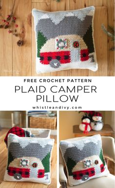 Crochet Plaid Camper Pillow - Free Crochet Pattern - Whistle and Ivy : This cute crochet plaid camper pillow features a retro trailer parked in a pretty winter mountain scene. You will love adding this to your holiday decor! Christmas Crochet Patterns, Holiday Crochet, Crochet Gifts, Crochet Christmas Blanket, Crochet Ornaments, Crochet Snowflakes, Crochet Pillow Pattern, Crochet Cushions, Blanket Crochet