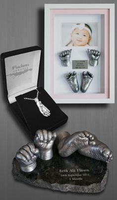 Baby Art Hand & foot Print (plaster of paris casting kit with bronze overlay included, looks nice upon piece of granite or marble for living room with family photo wall) Baby Kind, My Baby Girl, Baby Pictures, Baby Photos, Baby Handprint Crafts, Baby Cast, Baby Frame, Foto Baby, Baby Memories