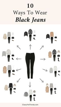 10 Ways To Wear Black Jeans &; Classy Yet Trendy 10 Ways To Wear Black Jeans &; Classy Yet Trendy Ti Na t_na Style 10 Ways To Wear Black Jeans […] with black jeans Mode Outfits, Jean Outfits, Dress Outfits, Classy Yet Trendy, Classy Ideas, How To Wear Sneakers, How To Wear Ankle Boots, Fashion Vocabulary, Fashion Capsule