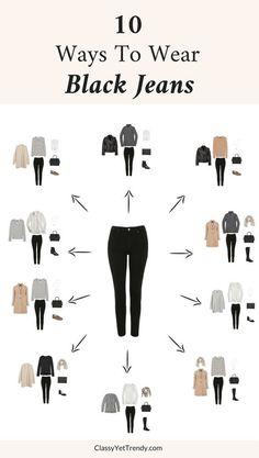 10 Ways To Wear Black Jeans &; Classy Yet Trendy 10 Ways To Wear Black Jeans &; Classy Yet Trendy Ti Na t_na Style 10 Ways To Wear Black Jeans […] with black jeans Mode Outfits, Jean Outfits, Outfits With Black Jeans, Black Jeans Outfit Casual, Dress Casual, White Casual, Grey Sweater Outfit, Casual Hair, Outfit Jeans