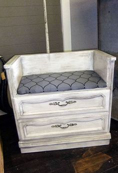Recycle your dresser as a bench. Turn an old dresser into a bench. The bottom drawers could store loose shoes, and this would be wonderful in a mud room. http://hative.com/creative-new-uses-for-everyday-items/