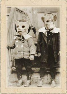 Vintage Halloween Photo.  I think Halloween costumes of the past are the scariest things!