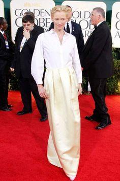 40 Of The Best Ever Dresses On The Golden Globes Red Carpet - Tilda Swinton