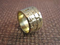 Woven textured 14kt gold wide band by karynhaney on Etsy