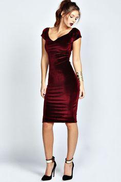 Vivian Velvet Midi Bodycon Dress