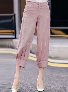 Shop Casual Linen Ankle-Length Solid Color Pants at EZPOPSY. Stylish Dresses For Girls, Trendy Outfits, Fashion Pants, Fashion Outfits, Salwar Pants, Pants For Women, Clothes For Women, Pants Pattern, Trouser Pants