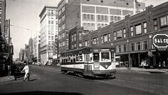 Street Car , corner of 3rd and Walnut looking west, 1948. Buildings in background are now Capital Square block.