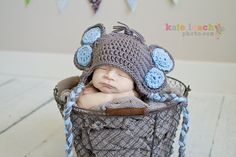 Little Mr Elephant Beanie in Gray and Baby by mamamegsyarnshoppe, $22.00