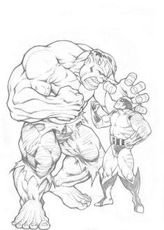 #Hulk #Fan #Art. (Hulk n Wolverine_exercise) By: ArifDahlan. ÅWESOMENESS!!!™ ÅÅÅ+