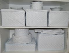 Quilted china and dish storage containers in a row. Organized china closet with all white & Dishing out advice: How to store your china From The Sparefoot ...