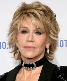 Medium hairstyle for women over 60 with thick hair – choppy layered messy hairstyle from Jane Fonda. With the right hairstyle, it doesn't matter how old you are, you can still be as trendy as you ever were! This choppy, layered style is ultra-trendy and has a totally up-to-the-minute blend of wheat and pale honey … jane fonda, layered hairstyles, layered haircuts, layer haircut, short hairstyles, bing imag, hair style, medium hairstyles, women