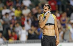 Getting a sweat on: Ibrahimovic looks to be in good shape ahead of the new Ligue 1 season...