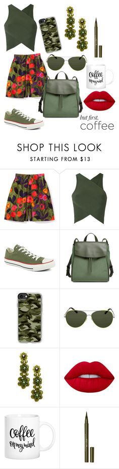 """""""coffee green military"""" by ilarylmiao ❤ liked on Polyvore featuring EGREY, Converse, Skagen, Casetify, Valentino, Simone Rocha, Lime Crime and Stila"""