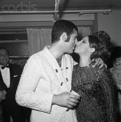 Barbra Streisand Kissing Elliott Gould-  New York, 1965. They each had shows on Broadway at the time.