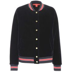 Tommy Hilfiger Varsity Velvet Bomber Jacket (590 CAD) ❤ liked on Polyvore featuring outerwear, jackets, tops, tommy hilfiger, blue, velvet bomber jacket, velvet jacket, blue jackets and blue bomber jacket