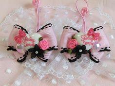 Kids Accessories 115 SALE ロゴハートとお花リボンピンク×黒ハンドメイド インテリア 雑貨 Handmade ¥160yen 〆05月27日