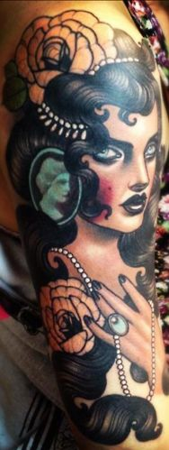 Tattoo by Emily Rose Murray  Everything. Dark, deep. The highlighting effects. Small jewelry details.