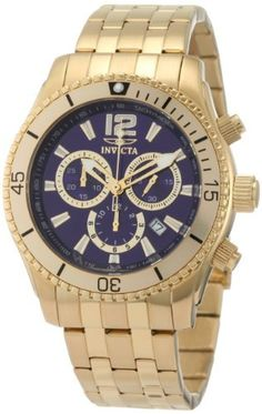 Invicta Men's 0623 II Collection Chronograph Gold-Plated Stainless Steel Watch Invicta. $97.00. Precise Japanese-quartz movement. Flame-fusion crystal; brushed and polished 18k gold-plated stainless steel case and bracelet. Chronograph functions with 60 second, 30 minute and 12 hour gold-tone border subdials ; date function. Blue sunray dial with gold-tone hands, hour markers and arabic numeral 12; luminous; 18k gold-plated unidirectional bezel; tachymeter on inner bez...