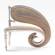 Furniture that has been extruded and manipulated into distorted forms.