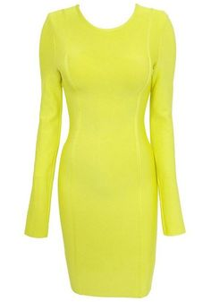 Fluorescent Yellow Plain Zipper Above Knee Cotton Dress
