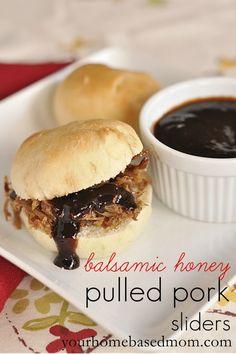 Balsamic Honey Pulled Pork Sliders @yourhomebasedmom.com  #crockpot, #pork, #sliders