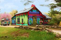 Artist Kat O'Sullivan's colorful cottage (Is that the Partridge Family bus parked outside?)