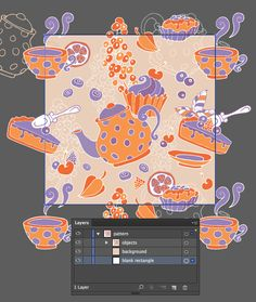 Create a tea party seamless pattern from a sketch in Adobe Illustrator - Tutorial on Tuts  Design