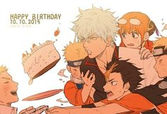 Happy birthday Naruto, different ages, time lapse, anime characters, Gintoki, Gintama, crossover; Anime  Please tell me the names of these Animes and/or characters if you know