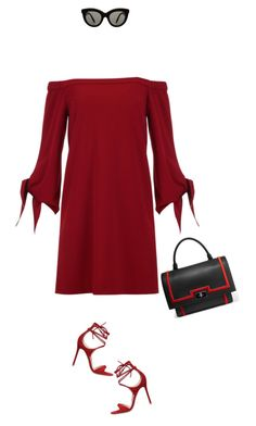 """""""#offtheshoulderdress dressing,do it in red."""" by fashionablychicny ❤ liked on Polyvore featuring TIBI, Gianvito Rossi, Givenchy and Victoria Beckham"""