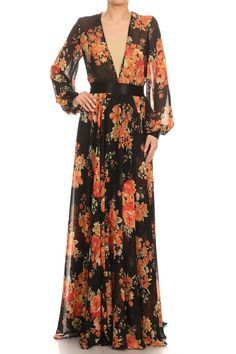 Relaxed Fit Floral Long Sleeve Maxi Dress