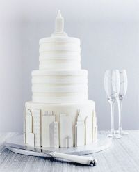 For a chic city soirée, this sophisticated marzipan and sugarpaste confection is the height of style.