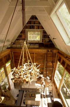 antler chandelier and one of the two sleeping lofts in the treehouse cottage, Camp Wandawega, Elkhorn WI Lofts, Adult Tree House, Antler Chandelier, Cabin Chandelier, Tree House Designs, Apartment Therapy, My Dream Home, Layout Design, Design Ideas