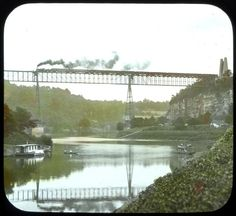 High Bridge with Train Crossing- Elmer L. Foote Lantern Slide Collection, ca. 1900-1915 (Lexington Public Library)