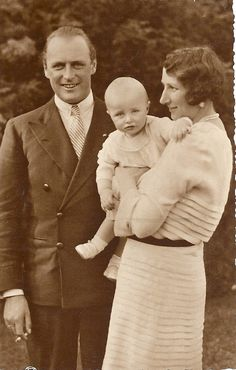 Princess Ragnhild of Norway with her proud parents Crown Prince (later King) Olav and Crown Princess Martha.