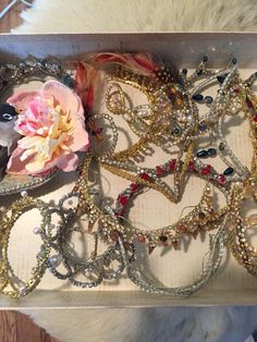 Variety is slice of life. Box of tiaras and diadem