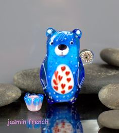 °° BEARS BLUES °° focal set lampwork beads by jasmin french