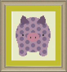 Polkadot pig cute crossstitch pattern by nerdylittlestitcher, $3.00