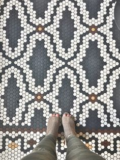 Black and white patterned Floor tile at Eastside Restaurant Floor Patterns, Tile Patterns, Mosaic Tiles, Cement Tiles, Wall Tiles, Penny Tile Floors, Mosaic Floors, Hex Tile, Hexagon Quilt