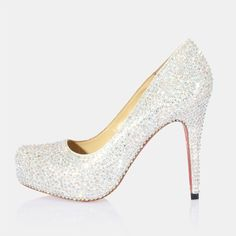 closed toe silver glitter platform pumps - Blinged Out Wedding Day ...