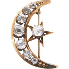 Romantic antique Victorian moon and star brooch in 12K (tested) yellow gold set with 8 faceted paste stones. -- found at www.rubylane.com @rubylanecom #vVntageBeginsHere #solareclipse