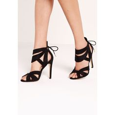 70469b17af6 Missguided Curved Strappy Heeled Sandal ( 51) ❤ liked on Polyvore featuring  shoes