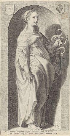 Jacob Matham | Voorzichtigheid (Prudentia), Jacob Matham, Franco Estius, 1593 | Personificatie van voorzichtheid, met twee slangen in haar hand, staand in nis.