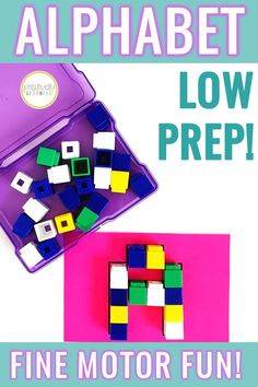 Here's a set of three EASY alphabet centers! Low prep and can last ALL year! Simply print the letter formation cards, add manipulatives and you will have fine motor alphabet centers ready to go. From Positively Learning #finemotor #alphabet